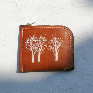Do not hit the snow white forest light brown vegetable tanned leather full leather L-type purse
