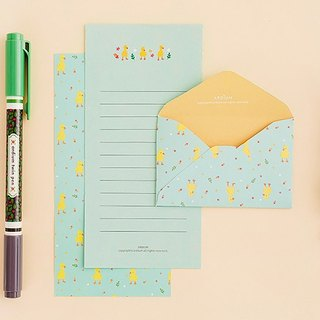 ARDIUM lovely pastel stationery group (a group of three) - green background duckling