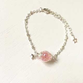 *Haku‧Neko*Pink Gel Beads Glass Ball Star Bracelet