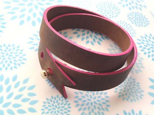 Italian thick edge colors pink ribbon design cow Pizzo bracelet