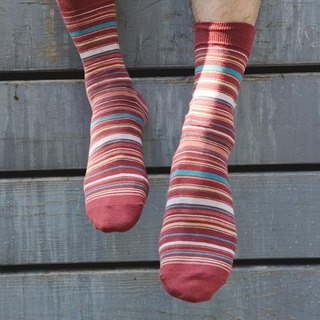 Lin Guoliang stripe gentleman socks brick red
