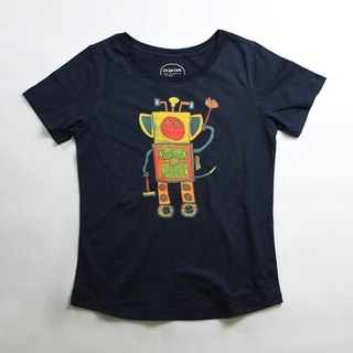 Cotton hand-printed T-shirt female models (family) - childlike gift robot