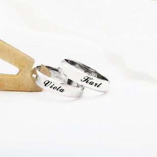 Customized Rings Lovers Ring 7mm Arc Lettering English Text Name Sterling Silver Ring