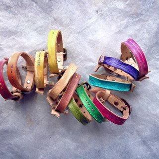 Retro rainbow bracelet _ hand-sewn leather dye
