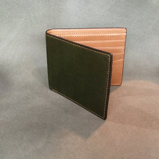 isni Wallet brown & green design/ Handmade leather