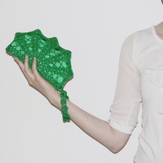Emerald Green Clutch Bag - Green Crochet Clutch - Emerald Green Crochet Purse - Wristlet Clutch - Bridesmaid Gift - Emerald Bridesmaid Clutch Bag