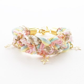 ♥ ELBRAZA ♥ Pastel braided bracelet with gold star