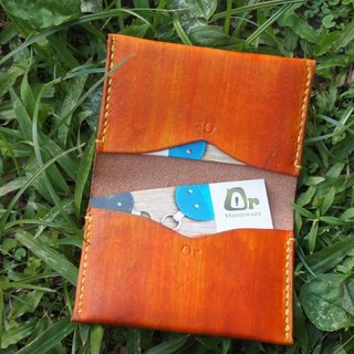 橘黃刷色雙層名片夾Leather Business Card Holder