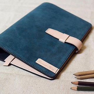 Handmade leather design leather loose-leaf notebook-style plug a little color with --A7-Size wood color + blue