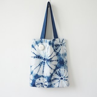 S.A x Daisy, Indigo dyed Handmade Dots Pattern Tote Bag