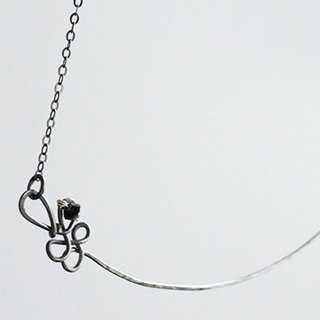 Black Silver Necklace, Oxidized Sterling Silver Necklace with Crystal beads