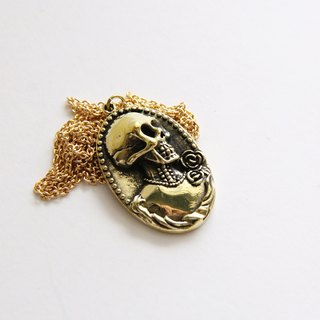 Lady Skeleton Cameo Pendant - Brass Punk Gothic Lolita Necklace