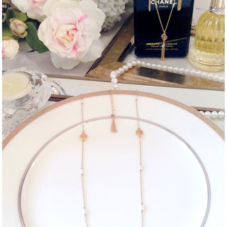 ∴Minertés = classical gold with flower ‧ ‧ gold-plated collarbone pearl necklace = ∴