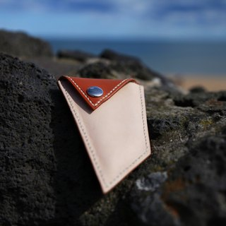 36. The hand-stitched leather triangle shape purse