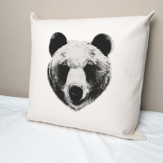 Natural bear cotton canvas pillow