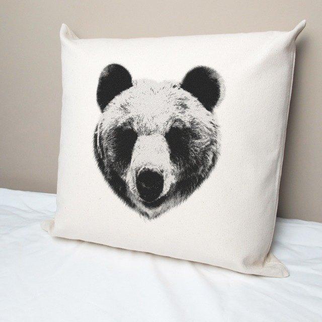 自然之熊 純棉帆布抱枕