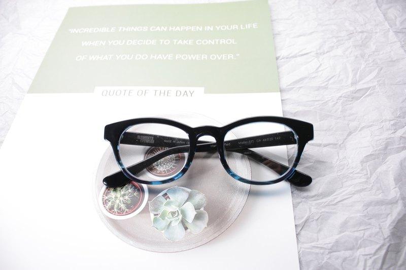 ELEMENTS eyewear 黑拼藍波士頓眼鏡框日本手造
