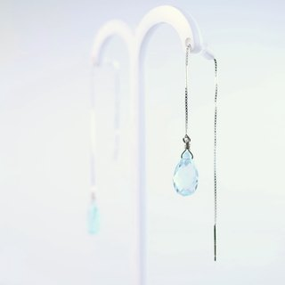 [ColorDay] Aqua floating natural topaz sterling silver earrings <Topaz Silver Earring>