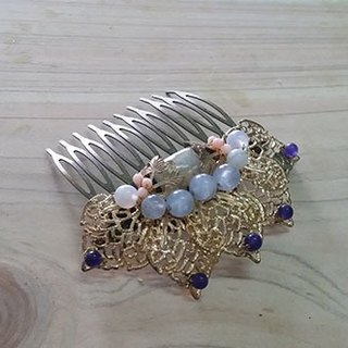 Kee Ling Tong set decoration - pull Tianhua} {lotus natural Moonstone Sapphire with Purple hair with pink coral Bob inserted hairpin
