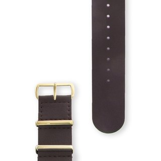 HYPERGRAND Military Leather Strap - 22mm - OAK BROWN Oak Brown Leather (Gold Button)
