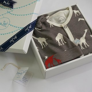 gujui Organic Cotton Gift Box - (with body suit + cap) - love giraffe (gray)