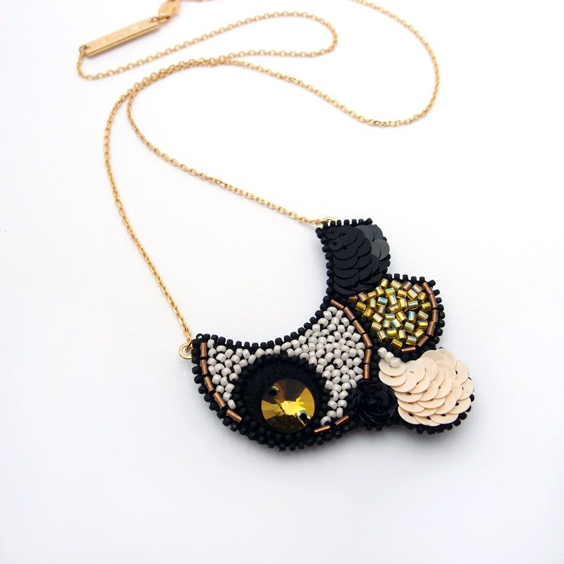 Bubble Embroidery Necklace / Yellow