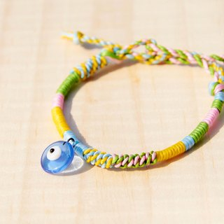 Customized silk wax line bracelet - transparency glass Turkish eye (wire rod can pick the color)