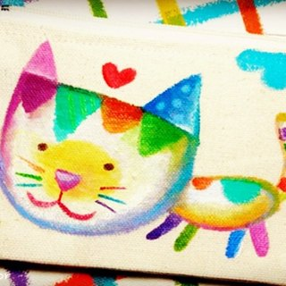 [Pure hand-painted] hand bag | coin purse | universal bag | canvas | cat | lovely wind