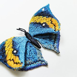 Embroidery butterfly brooch / Dead Leaf Butterfly (medium)