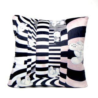 """Gookaso"" caterpillar cartoon printed in black and white psychedelic version of the original design pillow 45x45cm"