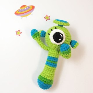 Green Star man - baby rattle - Hand Limited