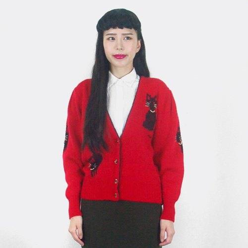 (Special) Red cat knit cardigan sweater jacket AH5031