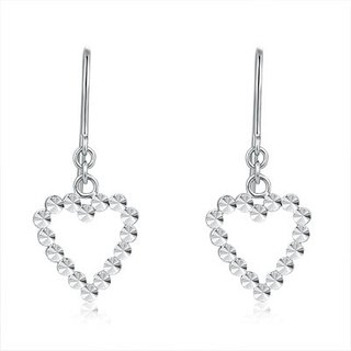 Hong Kong Design 14K / 585 white gold net gold heart-shaped earrings hanging
