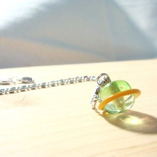 Grapefruit forest handmade glass - full of love for small Saturn - hope green x orange - glass necklace