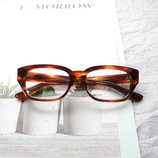Rectangle Whisky Brown  eyeglasses 7 barrel hinge Handmade in Japan eyewear