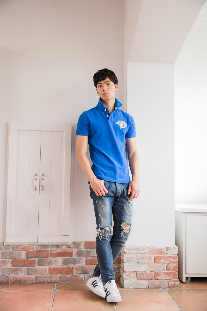 Cotton mesh Polo shirt sapphire blue wings badge design