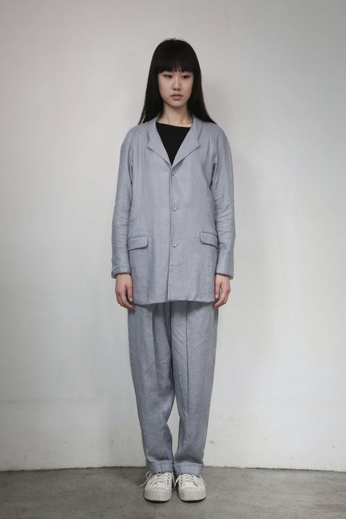 Hong Kong's independent creative brand Numb Workshop Ladies Long Linen Jacket BLUE
