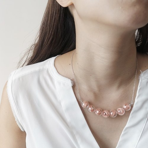 Simple Dots n' Line Glass Bubble Necklace - Peach