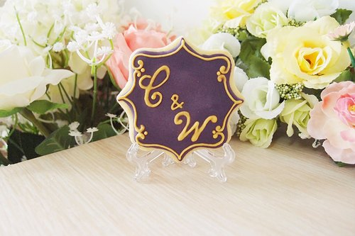 Dream wedding elegant purple box small objects sugar cookie (10 in)