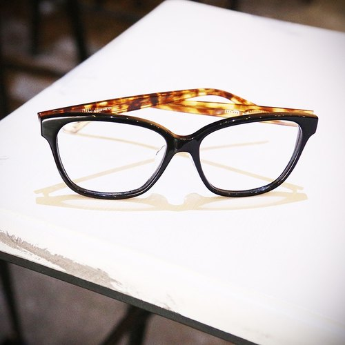 [Myth] D-shaped frame wild black frame tortoiseshell temples optical frames plate hand-made Asian nose pad