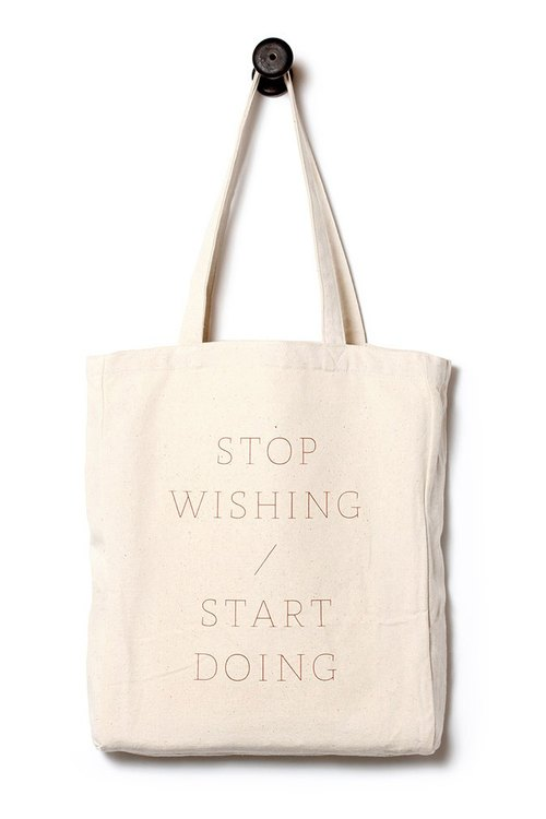 [STOP WISHING]. Canvas bag / daily bag / tote.