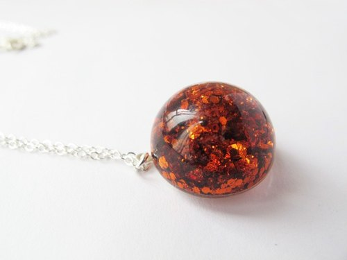 * Rosy Garden * sunset orange sequins copper water flow semicircle Crystal Glass Necklace