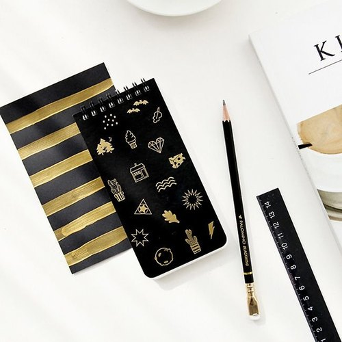Dessin x GMZ-ghost pop mischievous ghost stripes notebook S- gold shining black, GMZ02414