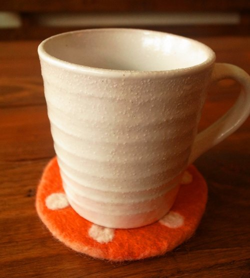 【Grooving the beats】Cup coasters, Felt coasters(Dot_Orange)