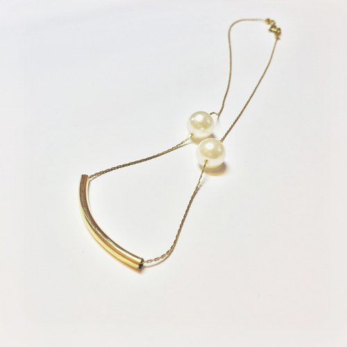 Marygo ﹝ dotted line clavicle gold chain pearl ﹞