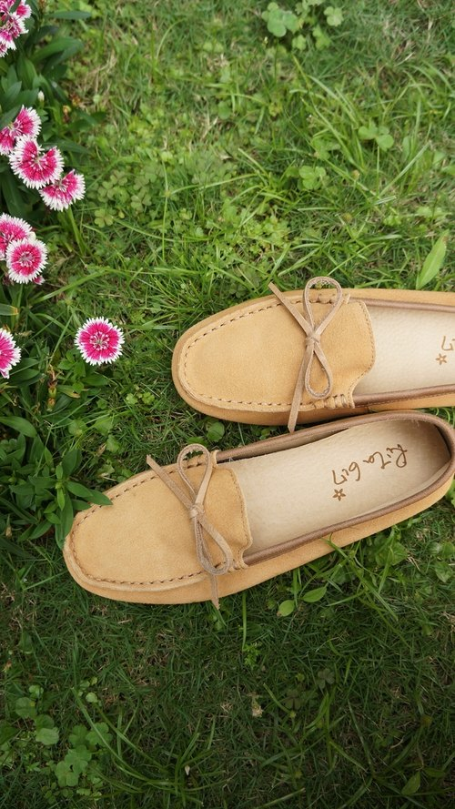 Rita617 Soft series Sew flat shoes (Camel + bow)