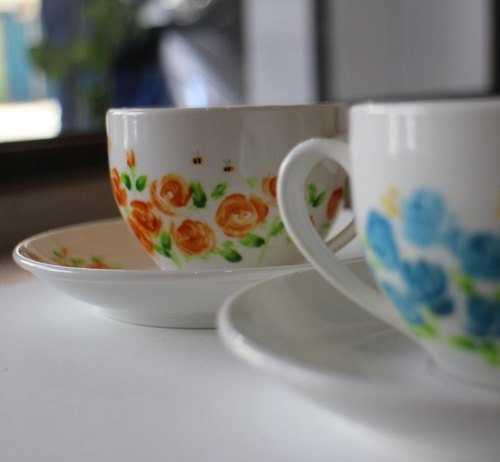 Quiet garden hand-painted mugs