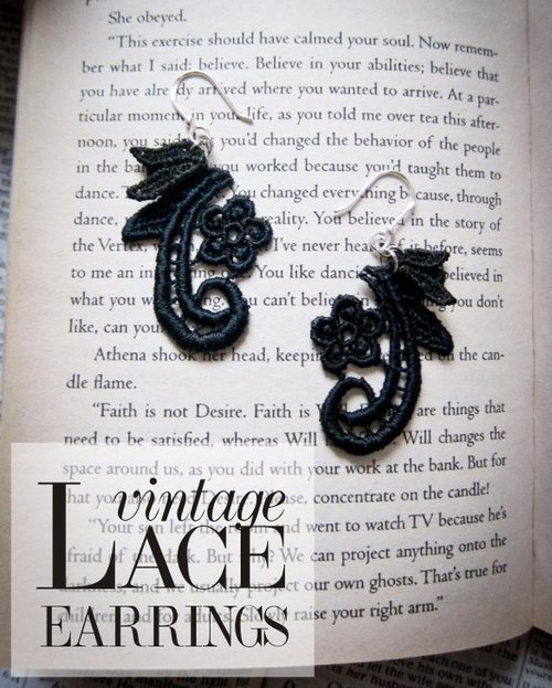 Antique hand-dyed lace earrings (925 sterling silver)