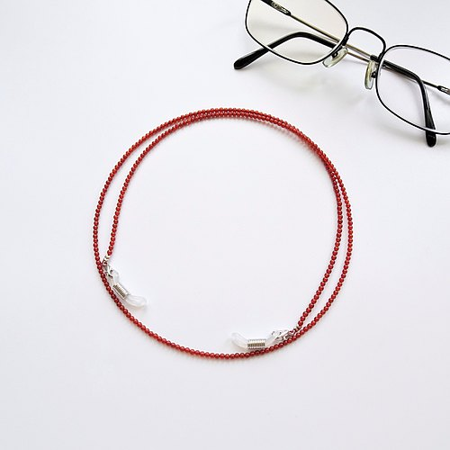 Red Agate Beaded Eyeglasses Holder Chain ♥ Gift for Mom & Dad