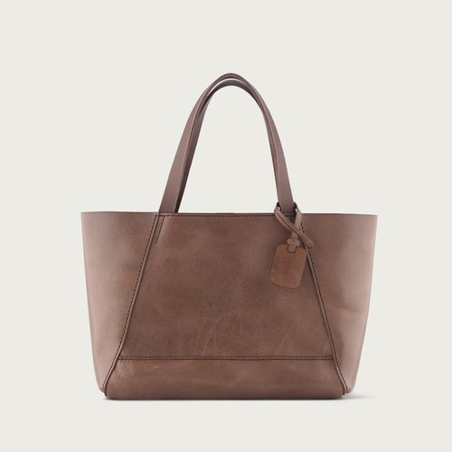 "LINTZAN ""hand-stitched leather"" carry bag (M) tote - dark coffee"